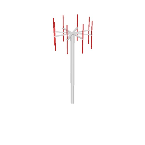 Screenshot of VDF antenna, white pole, red antennae