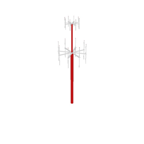 Screenshot of VDF / UDF antenna, red pole, white antennae