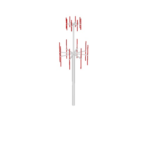 Screenshot of VDF / UDF antenna, white pole, red antennae