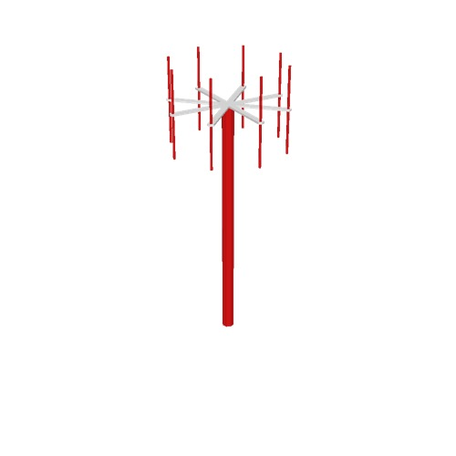 Screenshot of VDF antenna, red pole, red antennae