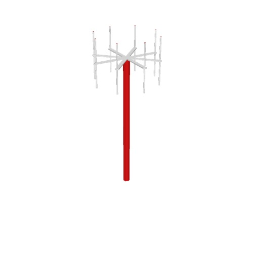 Screenshot of VDF antenna, red pole, white antennae
