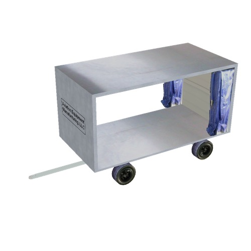 Screenshot of Baggage cart, covered, open, white/blue