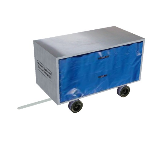 Screenshot of Baggage cart, covered, partially open, white/blue