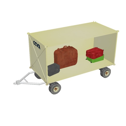 Screenshot of Baggage cart, covered, open one side, with baggage, beige