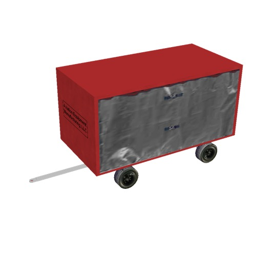 Screenshot of Baggage cart, covered, closed, single, red/grey
