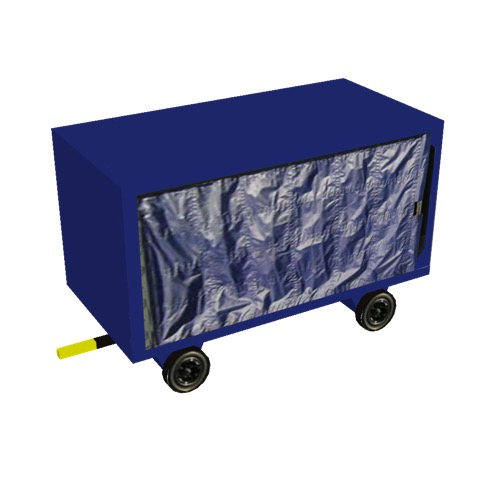 Screenshot of Baggage cart, covered, closed, single, blue