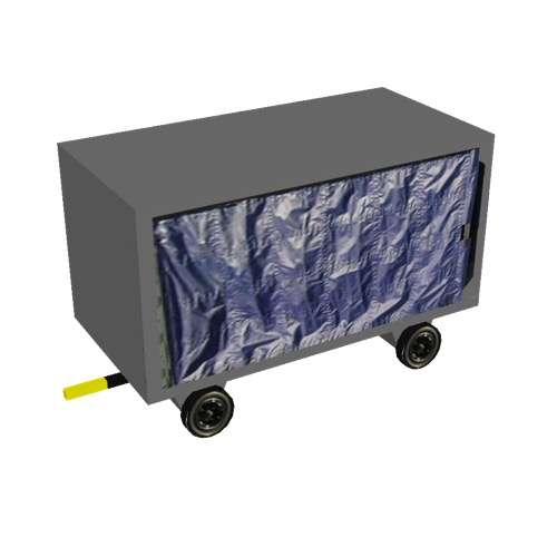 Screenshot of Baggage cart, covered, closed, single, grey/blue