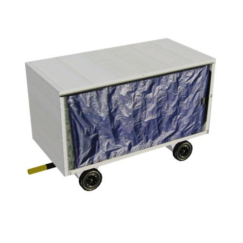Screenshot of Baggage cart, covered, closed, single, white/blue