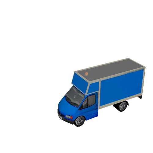 Screenshot of Ford Transit box truck, blue