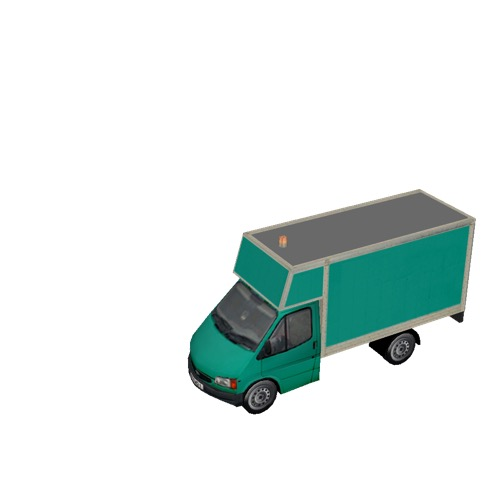 Screenshot of Ford Transit box truck, green