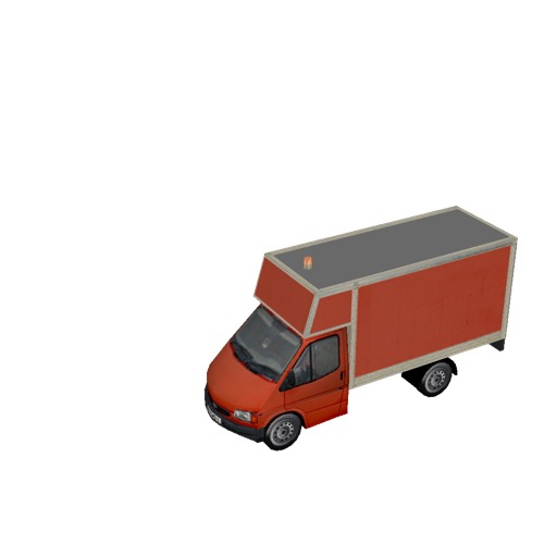 Screenshot of Ford Transit box truck, red