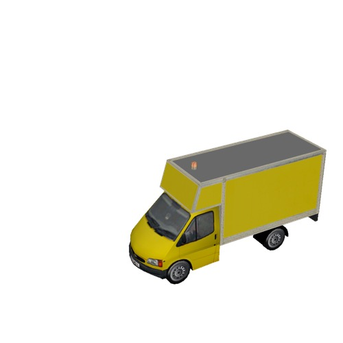 Screenshot of Ford Transit box truck, yellow