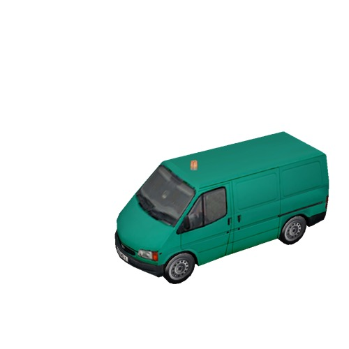 Screenshot of Ford Transit van, green