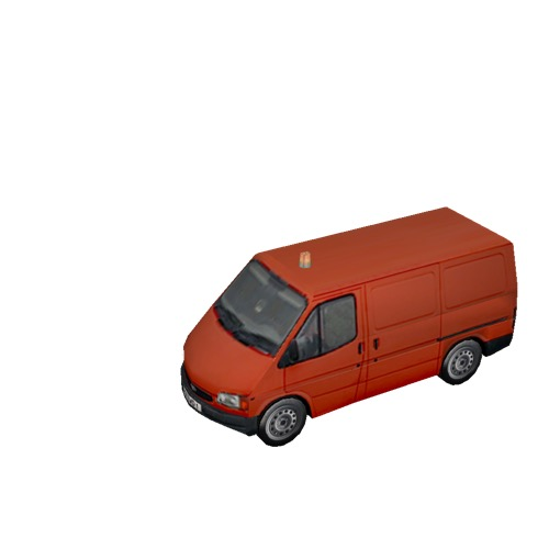 Screenshot of Ford Transit van, red