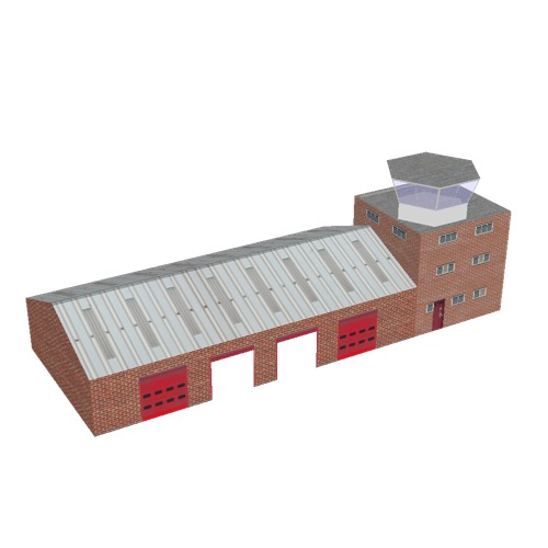 Screenshot of Fire station, red brick, four bays, office and hex tower