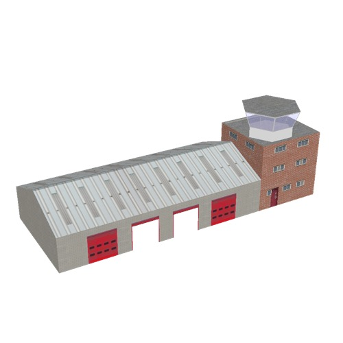 Screenshot of Fire station, grey brick, four bays, office and hex tower