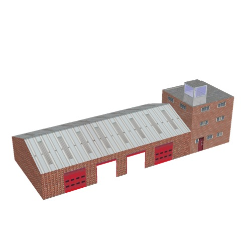 Screenshot of Fire station, red brick, four bays, office and square tower