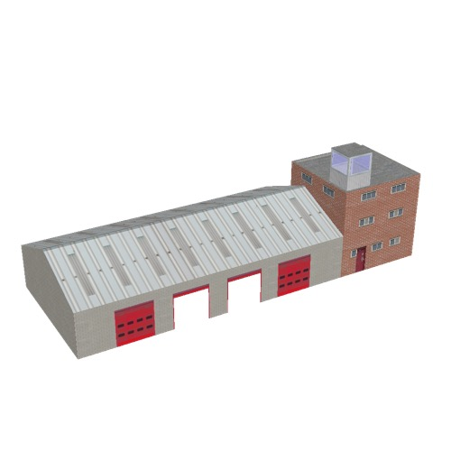 Screenshot of Fire station, grey brick, four bays, office and square tower
