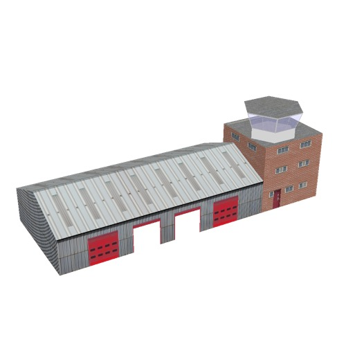 Screenshot of Fire station, metal, four bays, office and hex tower