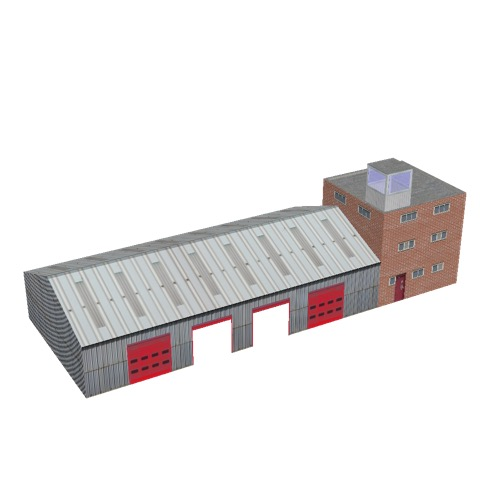 Screenshot of Fire station, metal, four bays, office and square tower