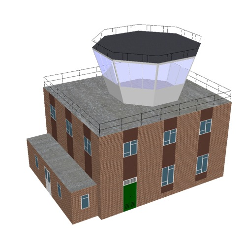 Screenshot of Tower, brick + brown, 2 storey, octagonal control room