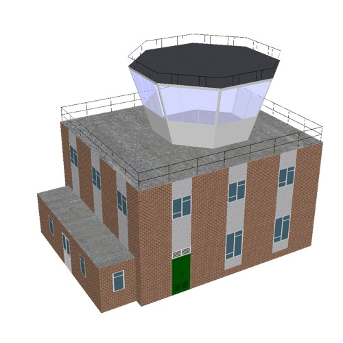 Screenshot of Tower, brick + white, 2 storey, octagonal control room