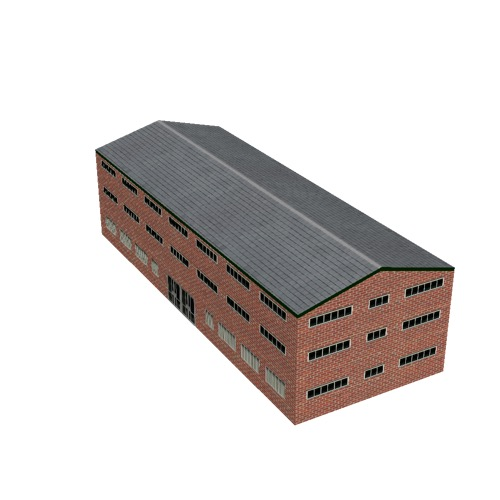 Screenshot of Office, red brick, grey roof, 3 floors
