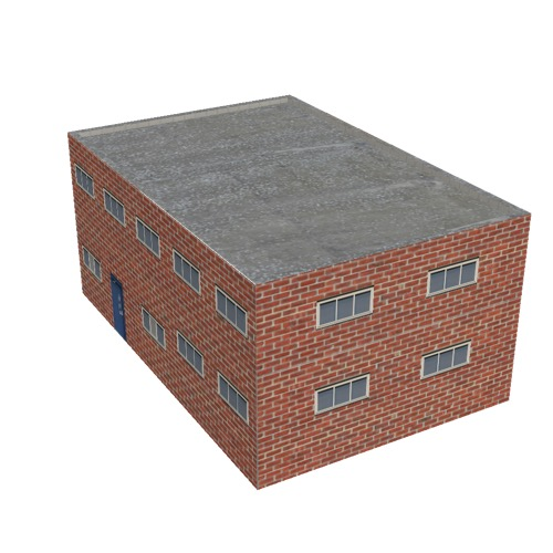 Screenshot of Office, red brick, grey roof, 2 floors