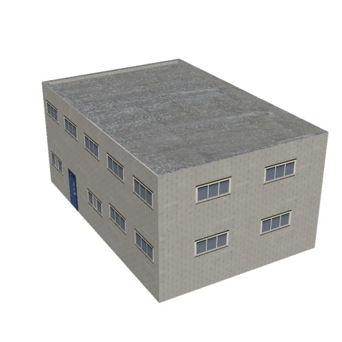 Screenshot of Office, grey brick, grey roof, 2 floors