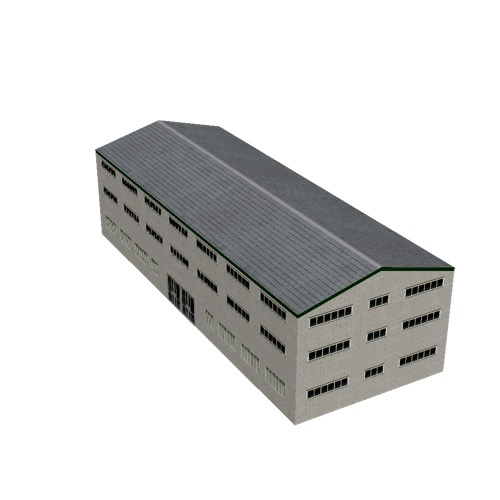 Screenshot of Office, grey brick, grey roof, 3 floors