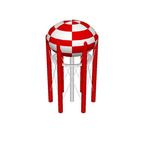 Screenshot of Water Tower, Spherical, Red and White