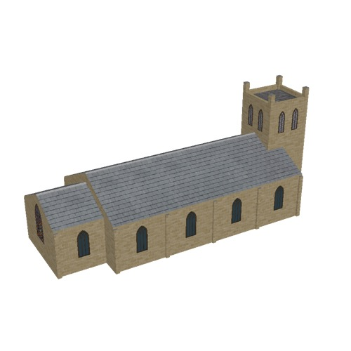 Screenshot of Church, stone, light brown, tower, 30m