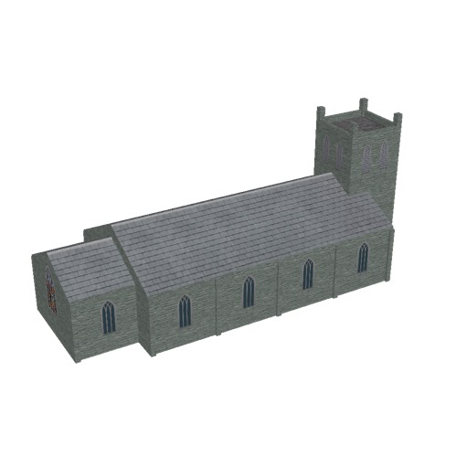 Screenshot of Church, stone, green grey, tower, 30m