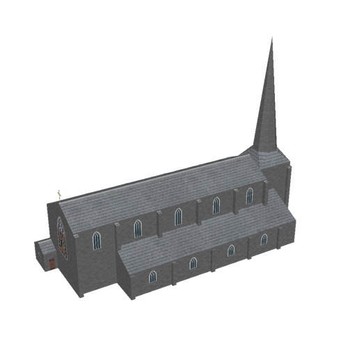 Screenshot of Church, stone, dark grey, spire, 40m