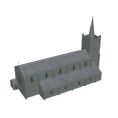 Screenshot of Church, stone, green grey, tower and spire, 40m