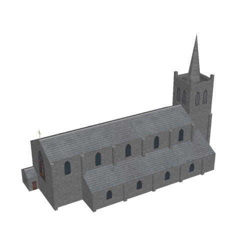 Screenshot of Church, stone, rustic grey, tower and spire, 40m