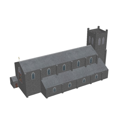Screenshot of Church, stone, dark grey, tower, 40m