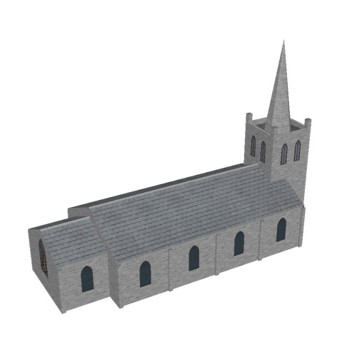 Screenshot of Church, stone, light grey, tower and spire, 30m