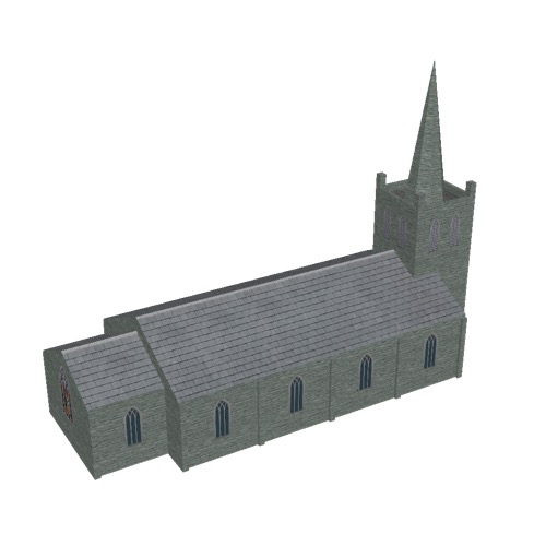 Screenshot of Church, stone, green grey, tower and spire, 30m