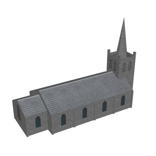 Screenshot of Church, stone, rustic grey, tower and spire, 30m