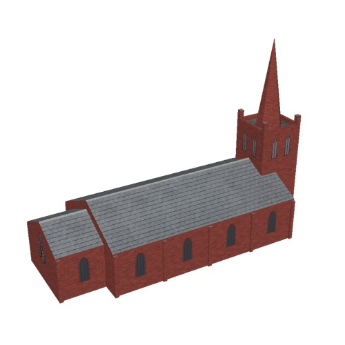 Screenshot of Church, stone, red, tower and spire, 30m
