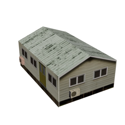 Screenshot of House, Wooden, Small, Tan, Green Rusty Roof
