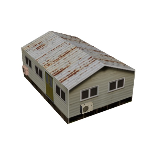 Screenshot of House, Wooden, Small, Tan, Grey Rusty Roof