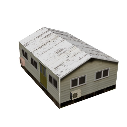 Screenshot of House, Wooden, Small, Tan, White Roof