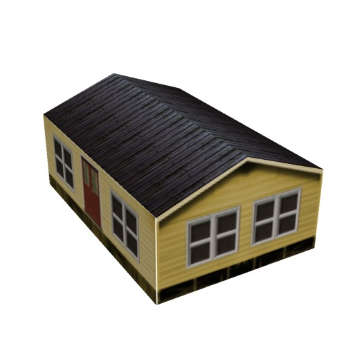 Screenshot of House, Wooden, Small, Yellow, Black Roof