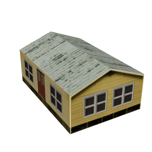 Screenshot of House, Wooden, Small, Yellow, Green Rusty Roof