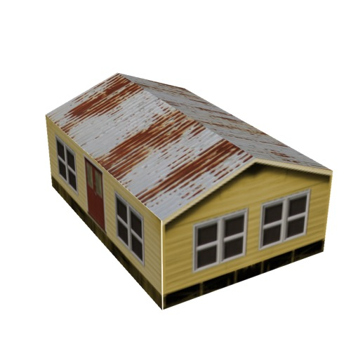 Screenshot of House, Wooden, Small, Yellow, Grey Rusty Roof