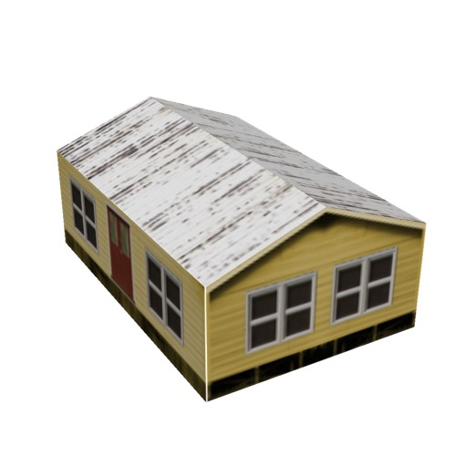 Screenshot of House, Wooden, Small, Yellow, White Roof