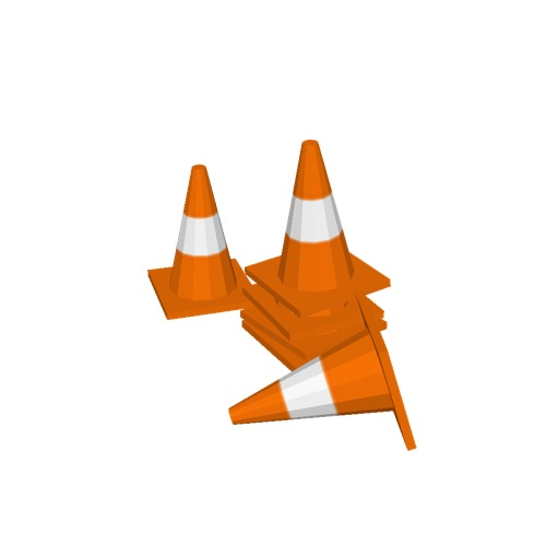 Screenshot of Cones, orange and white