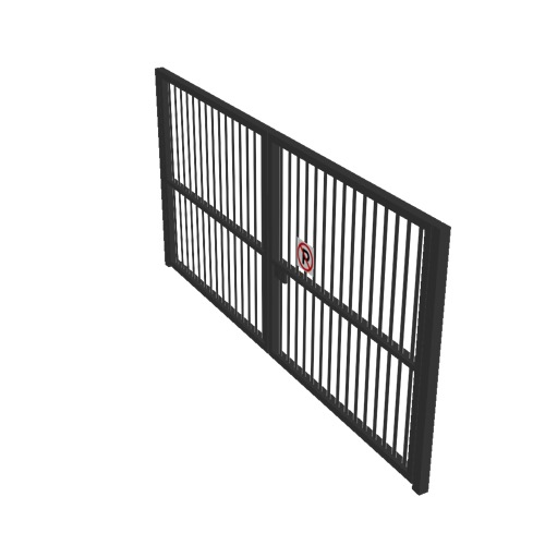 Screenshot of Gate, Black Steel Pallisade, Double 5m x 2.5m, Closed